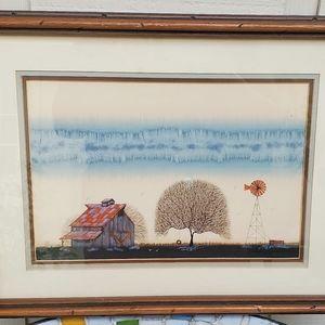 Vintage barn, farm, tire swing landscape painting.